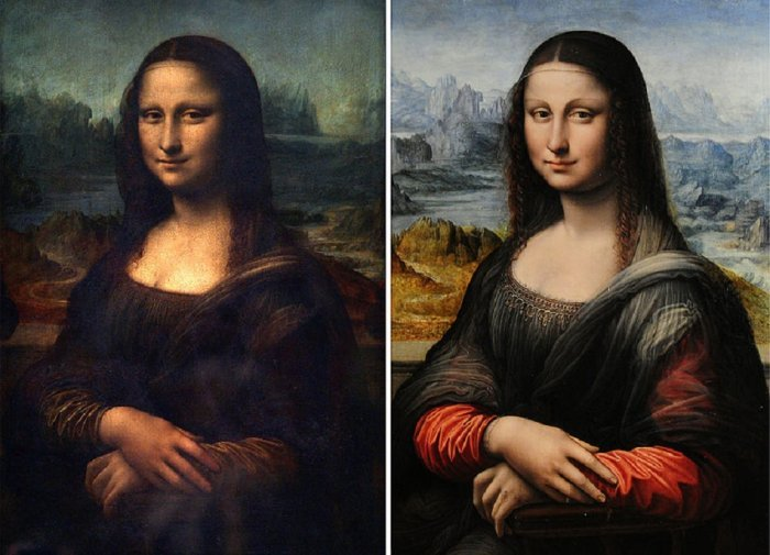 لوحة الموناليزا بشكلها الحالي ونسخة مبكرة منها