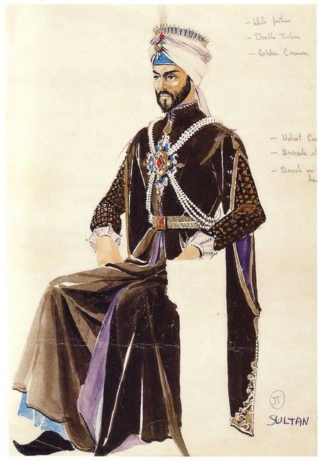 رسم تصوّري لزي السلطان أيبك من تصميم شادي عبد السلام