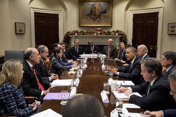 باراك أوباما يلتقي رجال الأعمال