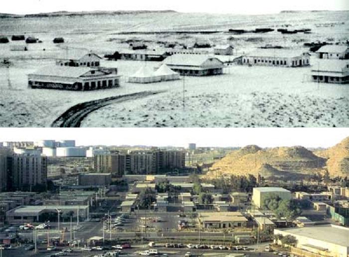 مدينة الدمام قبل اكتشاف البترول (أعلى)، وبعد اكتشافه (أسفل)