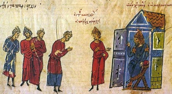 رسم يصور السفراء البيزنطيين إلى المعتصم