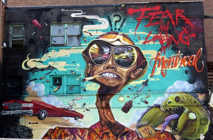جرافيتي لهانتر طومسون في مدينة مونتريال الكندية
