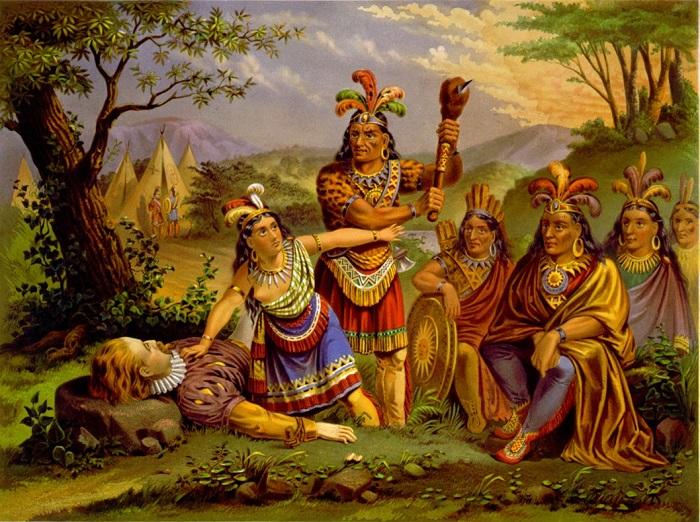 بوكاهونتاس تنقذ حبيبها الإنجليزي من الموت على يد أهلها