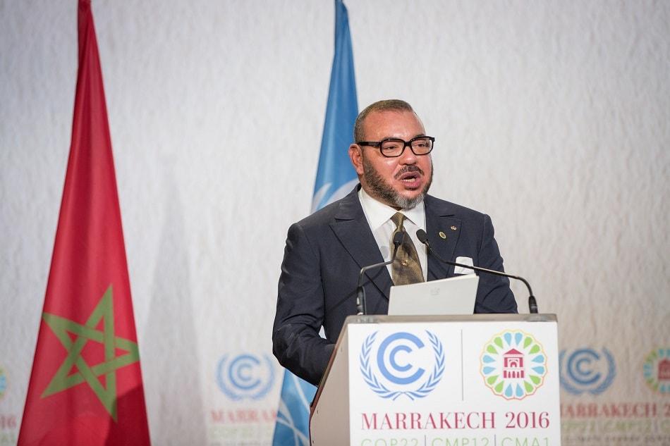 ملك المغرب محمد الخامس يلقي خطابا