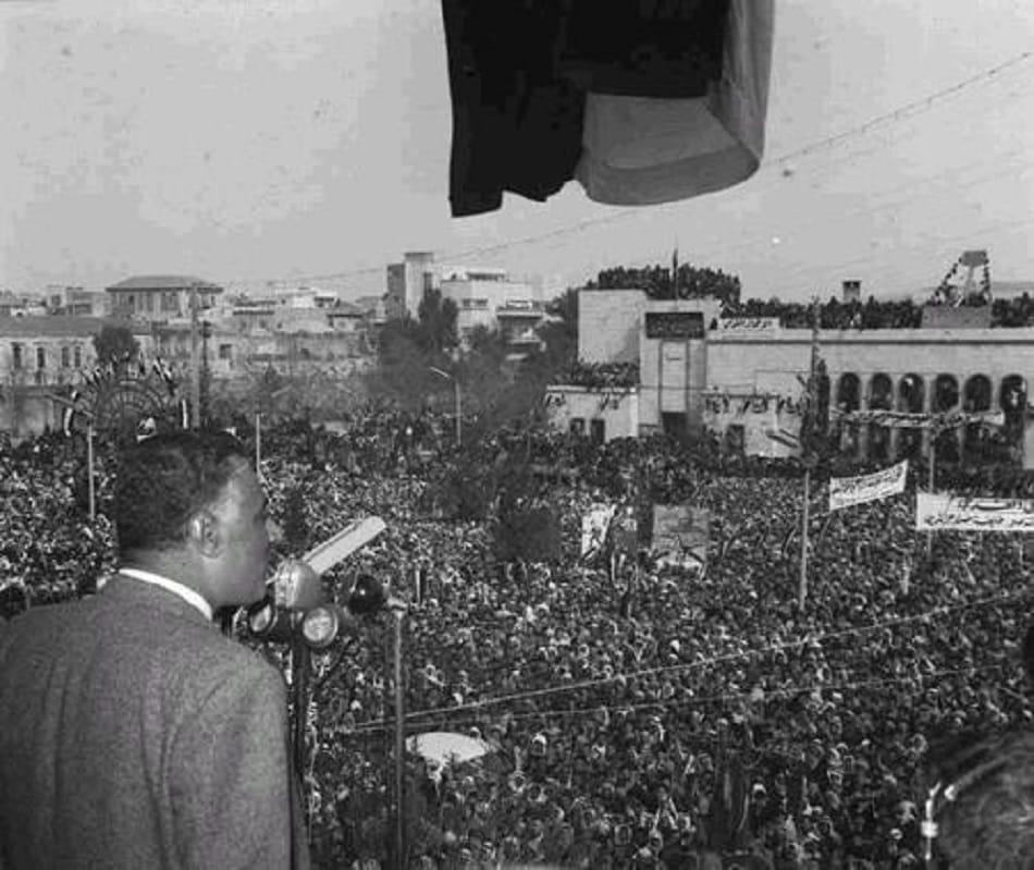 الرئيس المصري جمال عبد الناصر يخطب في حلب السورية