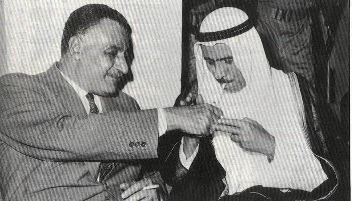 أمير الكويت صبح السالم الصباح مع الرئيس المصري جمال عبد الناصر