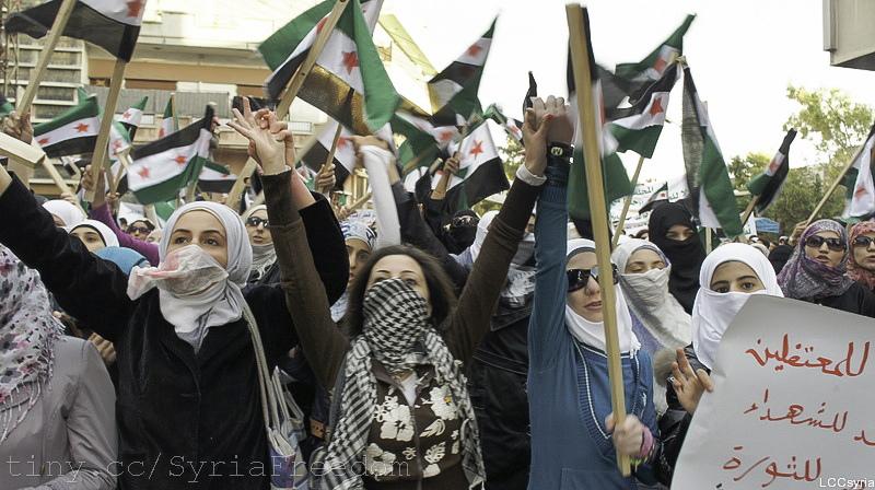 تظاهرة نسائية للتضامن مع المعتقلين السوريين