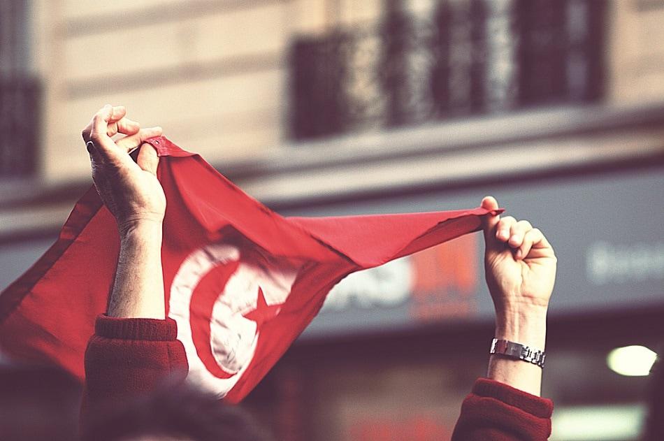 متظاهر يرفع علم تونس