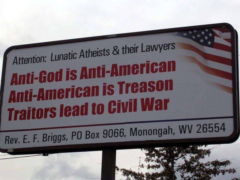 لافتة عن الدين في أمريكا