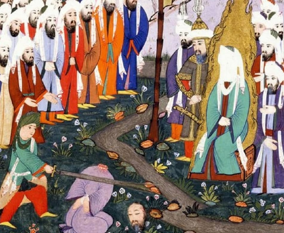 رسم يمثل علي بن أبي طالب يقطع رأس النضر بن الحرث في حضور النبي محمد