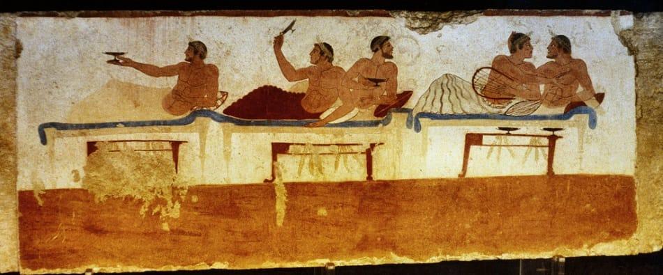 لوحة إغريقية تمثل حفل شراب للمثليين