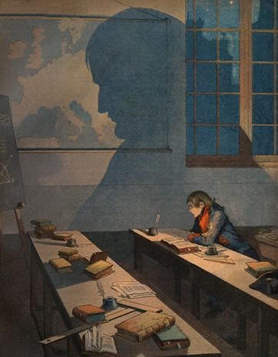 لوحة للرسام الفرنسي جوب تمثل نابليون بونابرت ونفسه