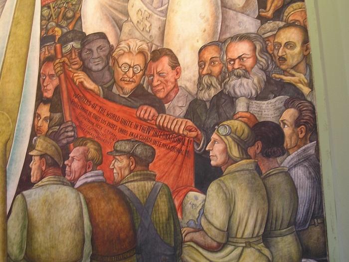 جدارية دييغو ريفييرا لتخليد تروتسكي وماركس