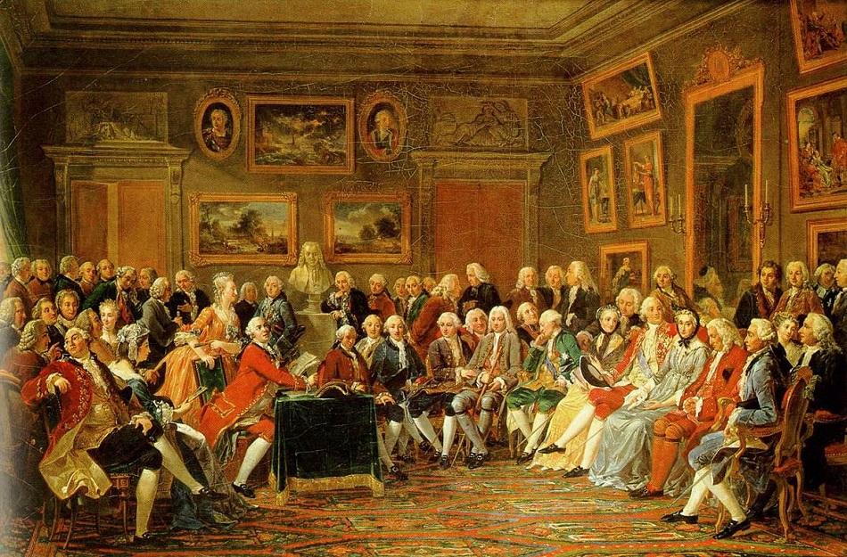 مجموعة من المثقفين يقرأون مسرحية في صالون مدام جيوفرين